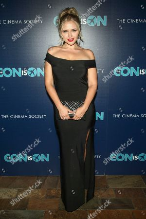 "Veronika Dash attends a special screening of ""The Con Is On"", hosted by Lionsgate and the Cinema Society, at the Roxy Cinema, in New York"