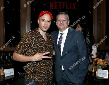 """Jemar Michael, Ted Sarandos. Jemar Michael, left, and Ted Sarandos, chief content officer for Netflix, attend the Netflix original series """"Dear White People Vol. 2"""" afterparty at Avenue, in Los Angeles"""