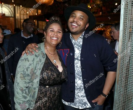 """Yvette Lee Bowser, Justin Simien. Yvette Lee Bowser, left, and Justin Simien attend the Netflix original series """"Dear White People Vol. 2"""" afterparty at Avenue, in Los Angeles"""