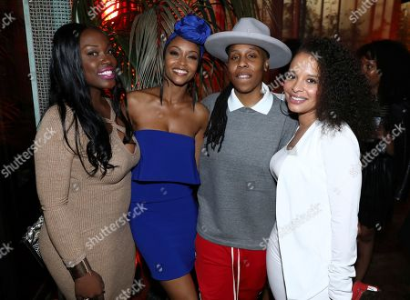 "Yaya DaCosta, Lena Waithe, Antonique Smith. Antonique Smith, from right, Lena Waithe, Yaya DaCosta and guest attend the Netflix original series ""Dear White People Vol. 2"" afterparty at Avenue, in Los Angeles"