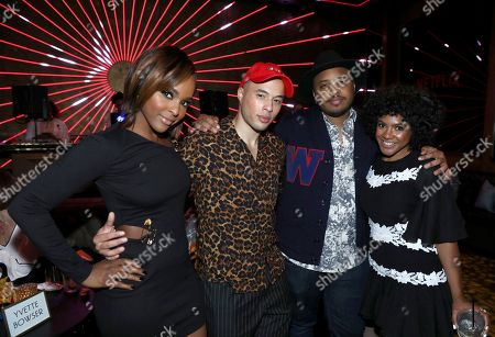 """Antoinette Robertson, Jemar Michael, Justin Simien, Courtney Sauls. Antoinette Robertson, from left, Jemar Michael, Justin Simien and Courtney Sauls attend the Netflix original series """"Dear White People Vol. 2"""" afterparty at Avenue, in Los Angeles"""