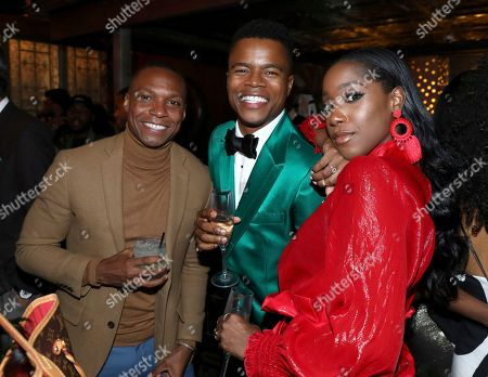 """Ashley Blaine Featherson, Marque Richardson. Ashley Blaine Featherson, from right, Marque Richardson and guest attend the Netflix original series """"Dear White People Vol. 2"""" afterparty at Avenue, in Los Angeles"""