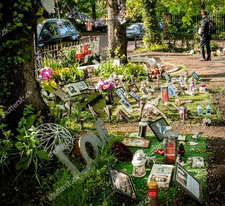 Flowers and tributes to George Michael near his home in Highgate