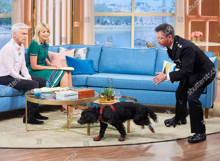 Stock Picture of Phillip Schofield and Holly Willoughby with Sherlock and Fire Investigator Paul Osborne