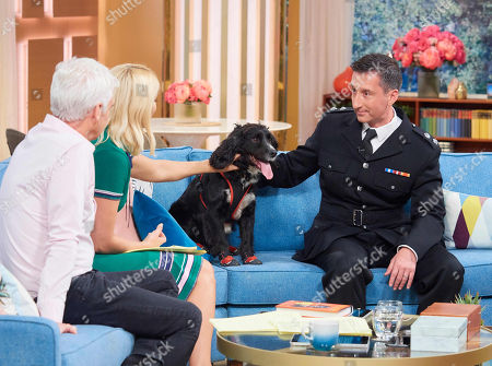 Phillip Schofield and Holly Willoughby with Sherlock and Fire Investigator Paul Osborne