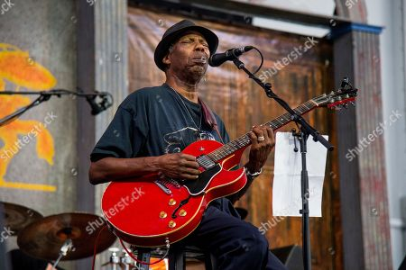Walter Wolfman Washington performs with the Joe Krown Trio at the New Orleans Jazz and Heritage Festival, in New Orleans