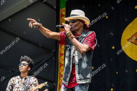 Cyril Neville performs at the New Orleans Jazz and Heritage Festival, in New Orleans