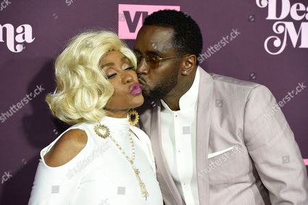 """Stock Picture of Sean Combs, Janice Combs. Sean Combs, right, kisses his mother Janice Combs as they arrive at the 3rd annual """"Dear Mama: A Love Letter to Moms"""" at The Theatre at Ace Hotel, in Los Angeles"""