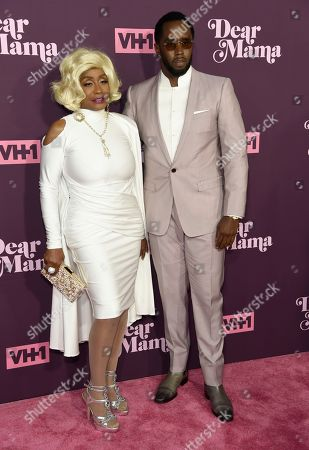 """Sean Combs, Janice Combs. Sean Combs, right, and his mother Janice Combs arrive at the 3rd annual """"Dear Mama: A Love Letter to Moms"""" at The Theatre at Ace Hotel, in Los Angeles"""