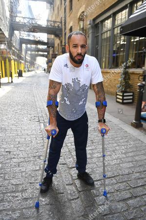 Editorial image of James Ellington. British Sprinter James Ellington Recovering After His Motor Bike Crash In January 2017.