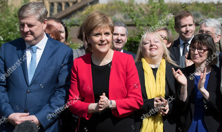 Nicola Sturgeon. Scottish National Party Leader Nicola Sturgeon Arrives At A Press Call With Angus Robertson At Victoria Gardens And Is Joined By The Snp Westminster Group.