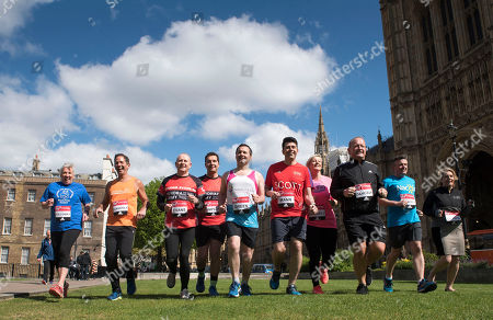 Stock Photo of A Total Of 16 Mps Are Taking On The Challenge Of Running The 2017 Virgin Money London Marathon Smashing All Previous Records For Mp Entries. The Previous Record Of Nine Was Set In 2014. The 16 Include Three Women Mps - Another Record - Including One From The Scottish National Party Hannah Bardell The First Snp Member Ever To Run. Left/right- Amanda Solloway Jonathan Djanogly Graham Evans Edward Timpson Scott Mann Chris Green Jon Ashworth Simon Danczuk Hannah Bardell Mims Davies.