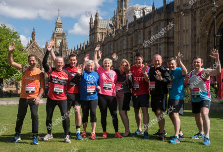 Stock Picture of A Total Of 16 Mps Are Taking On The Challenge Of Running The 2017 Virgin Money London Marathon Smashing All Previous Records For Mp Entries. The Previous Record Of Nine Was Set In 2014. The 16 Include Three Women Mps - Another Record - Including One From The Scottish National Party Hannah Bardell The First Snp Member Ever To Run. Left/right- Jonathan Djanogly Graham Evans Edward Timpson Amanda Solloway Hannah Bardell Mims Davies Scott Mann Simon Danczuk Jon Ashworth Chris Green.