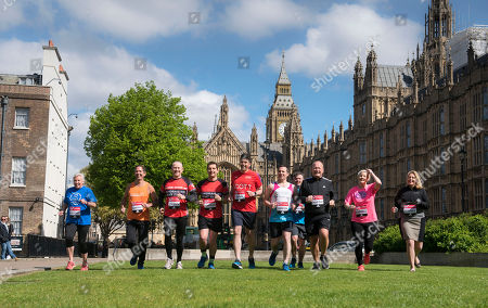 Stock Image of A Total Of 16 Mps Are Taking On The Challenge Of Running The 2017 Virgin Money London Marathon Smashing All Previous Records For Mp Entries. The Previous Record Of Nine Was Set In 2014. The 16 Include Three Women Mps - Another Record - Including One From The Scottish National Party Hannah Bardell The First Snp Member Ever To Run. Left/right- Amanda Solloway Jonathan Djanogly Graham Evans Edward Timpson Scott Mann Chris Green Jon Ashworth Simon Danczuk Hannah Bardell Mims Davies.