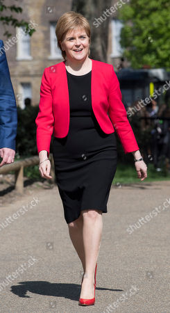Stock Image of Nicola Sturgeon. Scottish National Party Leader Nicola Sturgeon Arrives At A Press Call With Angus Robertson At Victoria Gardens And Is Joined By The Snp Westminster Group.