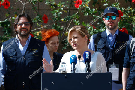 Elena Valenciano, Lebanon chief observer for the European Union Election Observation Mission speaks during a press conference in Beirut, Lebanon, . European Union election monitors are deploying around Lebanon, ahead of the country's first parliamentary elections in nearly a decade