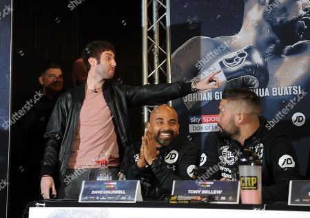 James Buckley aka Jay the inbetweeners storms the press conference to Give Adam Morallee a briefcase