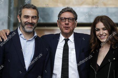 Sergio Castellitto, Pierluigi Corallo and Valentina Romani