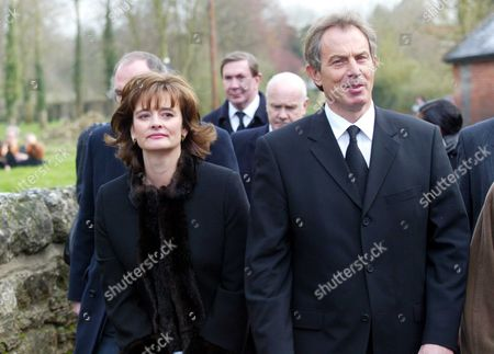 Tony And Cherie Blair Arrives At The Funeral Of Lord Roy Jenkins At St. Augustines Church East Hendred Oxon. Picture Jeremy Selwyn