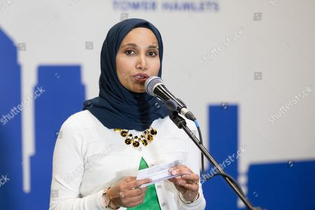 Rabina Khan speaking after losing the election of the Mayor of Tower Hamlets, at the Excel Centre in London.