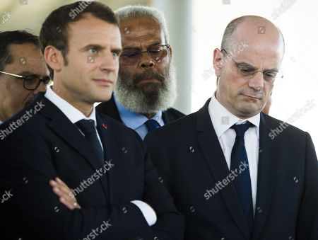 Stock Image of French education minister Jean-Michel Blanquer and French President Emmanuel Macron during a visit to the Michel Rocard high school