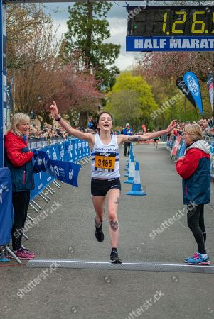 Sarah Brown (3495) finishes the 2018 Stirling Scottish Half Marathon as the first female to cross the line.