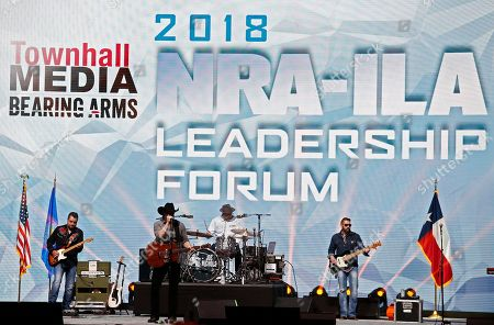 The Joe Nichols band performs while people are seated to hear President Donald Trump speak at the NRA Forum at the annual meetings inside the Kay Bailey Hutchison Convention Center in Dallas, Texas, USA, 04 May 2018. The NRA Annual Meetings take place over three days.