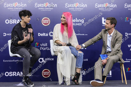 Stock Picture of Song writer Isaura (L) and singer Claudia Pascoal (C) representing Portugal with 'O Jardim' attend a press conference with Portuguese presenter Pedro Granger (R) ahead of the 63rd annual Eurovision Song Contest (ESC) in Lisbon, Portugal, 04 May 2018. Forty-three contestants are taking part in the ESC 2018 held at the Altice Arena in Lisbon. The event consists of two Semi-Finals on 08 and 10 May and a Grand Final on 12 May.