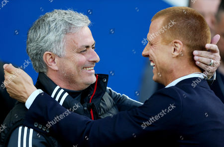 Manchester United Manager Jose Mourinho is all smiles with Steve Sidwell.