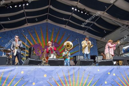 Clint Maedgen, Charlie Gabriel, Ben Jaffe, Branden Lewis, Ronell Johnson. Clint Maedgen, from left, Charlie Gabriel, Ben Jaffe, Branden Lewis and Ronell Johnson of the Preservation Hall Jazz Band performs at the New Orleans Jazz and Heritage Festival, in New Orleans