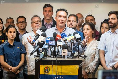 Sergio Sanchez, member of Frente Amplio Venezuela, offers statements to the press in Caracas, Venezuela, 04 May 2018. The opposition Frente Amplio Venezuela Libre called for a protests on 16 May against the presidential elections scheduled for 20 May, which they consider fraudulent and in which President Nicolas Maduro seeks re-election.