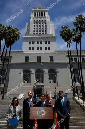Hilda Solis, Mike Feuer, Xavier Becerra, Eric Garcetti, Michael Tubbs. California Attorney General Xavier Becerra, at podium, announces the state cities of Stockton, Fremont, Long Beach and Oakland would be joining a suit he filed earlier for the city and county of Los Angeles challenging the Trump administration's plan to ask people if they are U.S. citizens during the 2020 census, at a news conference in Los Angeles . From left, Supervisor Hilda Solis, City Attorney Mike Feuer, Becerra, Los Angeles Mayor Eric Garcetti and Stockton, Calif., Mayor Michael Tubbs