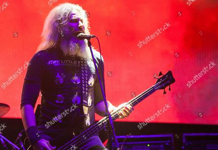 Troy Sanders of the American heavy metal band Mastodon performs during the Hell and Heaven music festival in Mexico City