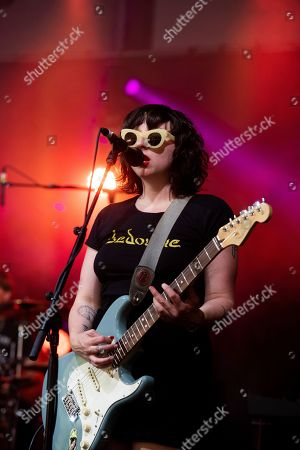 Allison Crutchfield, of Waxahatchee, performs on stage at Shaky Knees Music Festival, in Atlanta