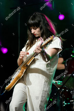 Katie Crutchfield, of Waxahatchee, performs on stage at Shaky Knees Music Festival, in Atlanta