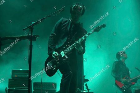 Artist Troy Van Leeuwen of Queens of the Stone Age performs on the Bud Light Stage at Beale Street Music Festival on in Memphis, Tenn