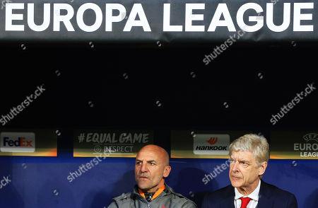 Arsenal manager Arsene Wenger and assistant coach Steve Bould