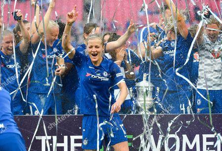 Katie Chapman of Chelsea Ladies celebrating with team mates