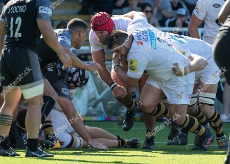 Marty Moore and James Haskell  (Wasps RFC) drive for the line