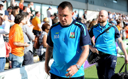 Manager Martin Allen of Barnet looks dejected at the end of the game