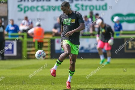 Forest Green Rovers Isaiah Osbourne(34) warming up during the EFL Sky Bet League 2 match between Forest Green Rovers and Grimsby Town FC at the New Lawn, Forest Green. Picture by Shane Healey