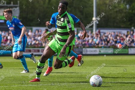 Forest Green Rovers Isaiah Osbourne(34) on the ball during the EFL Sky Bet League 2 match between Forest Green Rovers and Grimsby Town FC at the New Lawn, Forest Green. Picture by Shane Healey