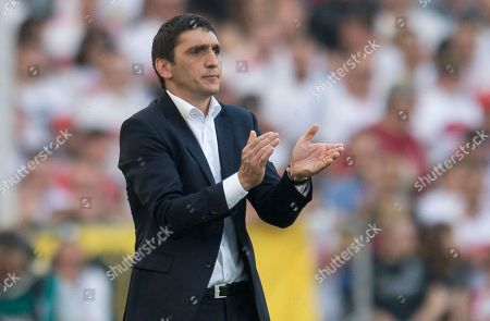 Stuttgart's coach Tayfun Korkut reacts during the German Bundesliga soccer match between VfB Stuttgart and TSG 1899 Hoffenheim in Stuttgart, Germany, 05 May 2018.