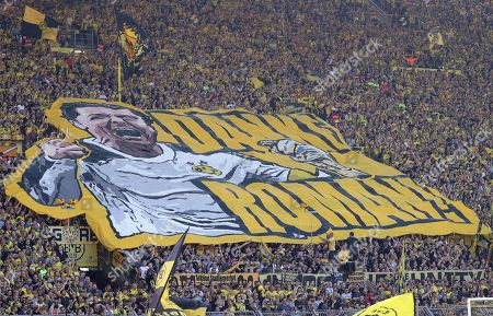 Dortmund fans hold a huge banner depicting goalkeeper Roman Weidenfeller before the German Bundesliga soccer match between Borussia Dortmund and FSV Mainz 05 in Dortmund, Germany, 05 May 2018.