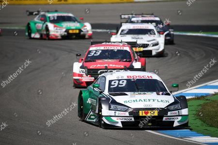 05.05.2018, Hockenheimring, Hockenheim, DTM 2018, 1.Lauf Hockenheimring,04.05.-06.05.2018 ,  Mike Rockenfeller (DEU#99) Audi Sport Team Phoenix, Schaeffler Audi RS 5 , Rene Rast (DEU#33) Audi Sport Team Rosberg, Auto  Mogoalsport Audi RS 5 DTM, Paul Di Resta (GBR#3) Mercedes-AMG Mogoalsport Remus, Mercedes-AMG C 63 DTM