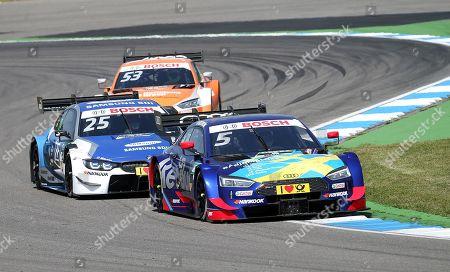 05.05.2018, Hockenheimring, Hockenheim, DTM 2018, 1.Lauf Hockenheimring,04.05.-06.05.2018 ,  Mattias Ekstroem (SWE#5) Audi Sport Team Abt, Red Bull Audi RS 5 DTM , Philipp Eng (AUT#25) BMW Team RMR, BMW Driving Experience BMW M4 DTM, Jamie Green (GBR#53) Audi Sport Team Rosberg, Hoffmann Group Audi RS 5 DTM