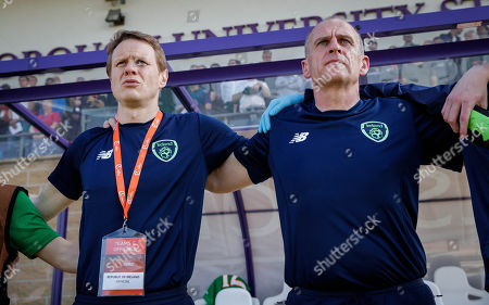 Republic of Ireland vs Belgium . Ireland Manager Colin O'Brien and assistant coach Ian Hill