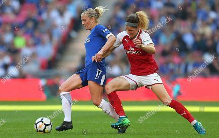 Katie Chapman  of Chelsea Ladies battles with Dominique Janssen of Arsenal Women
