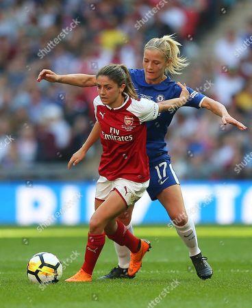 Danielle van de Donk of Arsenal Women  battles with Katie Chapman  of Chelsea Ladies
