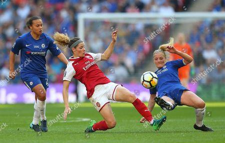 Dominique Janssen of Arsenal Women   battles with Katie Chapman  of Chelsea Ladies